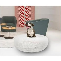 Bessie + Barnie Signature Extra Plush Faux Fur Shags Bagel Dog & Cat Bed, Snow White, Small found on Bargain Bro from Chewy.com for USD $73.71