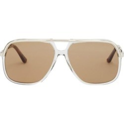Web-stripe Aviator Acetate And Metal Sunglasses - Brown - Gucci Sunglasses found on Bargain Bro India from lyst.com for $450.00