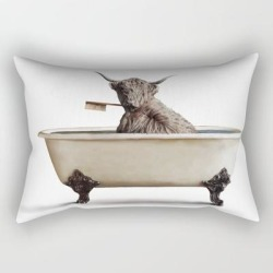 "Cow In Bath Rectangular Pillow by Art By Blanshie - Small (17"" x 12"")"