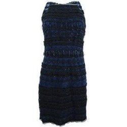 Aidan Mattox Women's Sleeveless Geometric Beaded Cocktail Dress (6), Blue(polyester, spot) found on MODAPINS from Overstock for USD $71.95