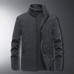 Men's Plus Size Stand Collar Loose Jacket (gray - 2XL)(fleece) found on Bargain Bro India from Overstock for $50.31