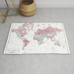 Modern Throw Rug | World Map Wall Art [pink Hues] by Kokua Design Company - 2' x 3' - Society6 found on Bargain Bro from Society6 for USD $26.07