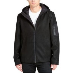 DKNY Mens Mixed-Media Coat, Black, X-Large (Regular) (Black - X-Large (Regular)), Men's(polyester, solid) found on Bargain Bro Philippines from Overstock for $174.15