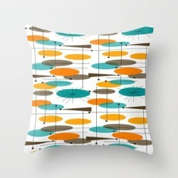 Couch Throw Pillow | Mid-century Modern Ovals Abstract Ii by Kippygirl - Cover (16