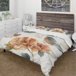 Designart 'Cottage Bird on Orange Flower Twig' Cottage Bedding Set - Duvet Cover & Shams - Multi-color (King Cover + 2 king Shams (comforter not found on Bargain Bro from Overstock for USD $91.41