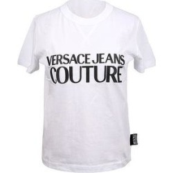 petite Versace Jeans Couture White Pure Cotton Short Sleeve Logo T-Shirt- (M), Women's found on Bargain Bro from Overstock for USD $65.35