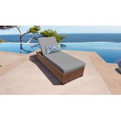 Laguna Chaise Outdoor Wicker Patio Furniture in Grey - TK Classics Laguna-1X-Grey
