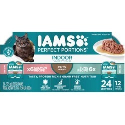 Iams Perfect Portions Tuna Recipe and Salmon Recipe Cuts in Gravy Adult Indoor Wet Cat Food Variety Pack, 2.64 oz., Count of 12