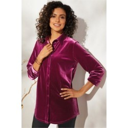 Women The Velvet Shirt by Soft Surroundings, in Purple Potion size 1X (18-20)