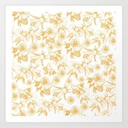 Aesthetic And Simple Bees Pattern Art Print by Magicalwalrus - X-Small