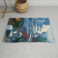 Mini World Environmental Blues 2 Modern Throw Rug by Anoellejay - 2' x 3'