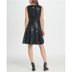 petite DKNY Womens Black Sleeveless Short Fit + Flare Party Dress Size 8 (Black - 8), Women's(knit, check) found on Bargain Bro from Overstock for USD $34.94