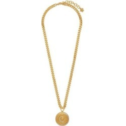 Gold Crystal Tribute Medusa Necklace - Metallic - Versace Necklaces found on Bargain Bro from lyst.com for USD $589.00