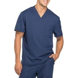 Dickies Men's Dynamix V-Neck Scrub Top With Zipper Pocket - Navy Blue Size XL (DK610) found on Bargain Bro India from Dickies.com for $28.99