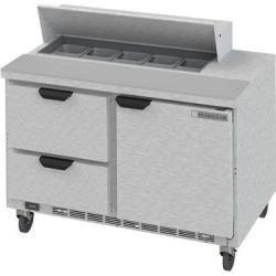 "Beverage Air SPED48-10-2 48"" 1 Door 2 Drawer Refrigerated Sandwich Prep Table"