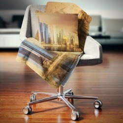 Designart 'Singapore Skyline under Brown Sky' Cityscape Throw Blanket (71 in. x 59 in.), DESIGN ART found on Bargain Bro from Overstock for USD $40.69