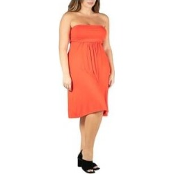 24seven Comfort Apparel Knee Length Plus Size Strapless Mini Dress (Orange - 2X), Women's(Rayon) found on Bargain Bro from Overstock for USD $27.35