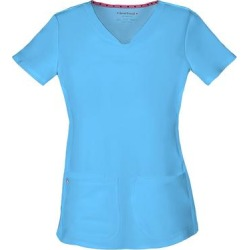 HeartSoul Break On Through Shaped V-Neck Top (Size XL) Turquoise, Polyester,Spandex found on Bargain Bro Philippines from ShoeMall.com for $26.99