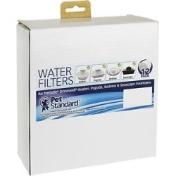 Pet Standard Water Filters for PetSafe Drinkwell Avalon, Pagoda, Sedona & Seascape Pet Fountains, 12 count