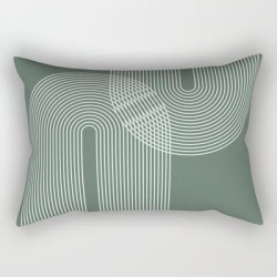 "Geometric Lines In Sage Green 2 (rainbow Abstraction) Rectangular Pillow by Nineflorals - Small (17"" x 12"")"