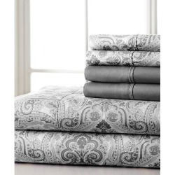 Spirit Linen Home Sheet Sets Black - Gray Paisley Microfiber Six-Piece Sheet Set found on Bargain Bro Philippines from zulily.com for $16.99