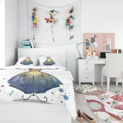 Designart 'Mannequin with Long Dress' Abstract Bedding Set - Duvet Cover & Shams (Full/Queen Cover +2 Shams (comforter not included)), Yellow, DESIGN found on Bargain Bro India from Overstock for $114.39