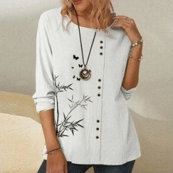 Printed Blouses Shirt Tops (White - 2XL), Women's found on Bargain Bro Philippines from Overstock for $34.56