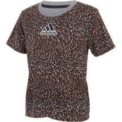 adidas Girls' Tee Shirts CHAR - Charcoal Gray Leopard Logo Tulip-Hem Tee - Girls found on Bargain Bro Philippines from zulily.com for $12.99