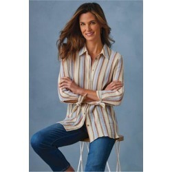Women Sunset Shirt by Soft Surroundings, in Multi Stripe size 1X (18-20)