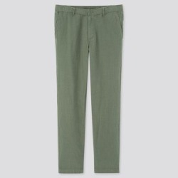 UNIQLO Men's Linen Blended Relaxed Pants, Green, XXL found on Bargain Bro from Uniqlo for USD $22.72