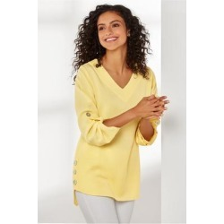 Women's Fairmont Tunic Top by Soft Surroundings, in Lemon Meringue size XS (2-4)