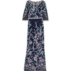 Floral-appliquéd Macramé Lace Gown - Blue - Marchesa notte Dresses found on MODAPINS from lyst.com for USD $402.00