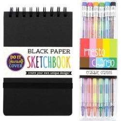 ooly Crayons - DIY Black Sketchbook & Presto Chango Crayon Set found on Bargain Bro Philippines from zulily.com for $13.99