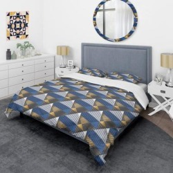 Designart 'Retro Luxury Waves in Gold and Blue V' Mid-Century Duvet Cover Set (King Cover + 2 king Shams (comforter not included)), DESIGN ART found on Bargain Bro from Overstock for USD $90.43