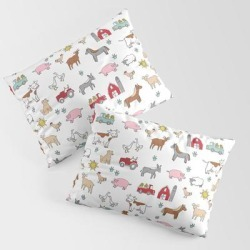 King Size Pillow Sham | Farm Animals Nature Sanctuary Cow Pig Goats Chickens Kids Gender Neutral by Andrea Lauren Design - STANDARD SET OF 2 - Cotton - Society6