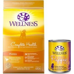 Wellness Complete Health Puppy Deboned Chicken, Oatmeal & Salmon Meal Recipe Dry Dog Food, 30-lb bag + Wellness Complete Health Just for Puppy Canned Dog Food, 12.5-oz, case of 12