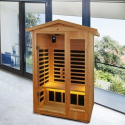 YUKUKI 2 Person Outdoor Solid Wood Far Infrared Sauna Room in Brown, Size 81.1 H x 57.87 W x 40.55 D in | Wayfair ZYS#ORW632S00010 found on Bargain Bro Philippines from Wayfair for $3299.99