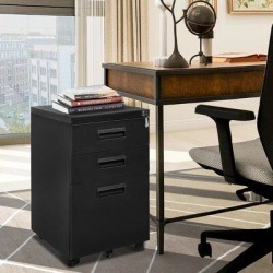 Inbox Zero Baio 3-Drawer Mobile Vertical Filing Cabinet Metal/Steel in Black, Size 24.0 H x 15.0 W x 21.0 D in | Wayfair found on Bargain Bro Philippines from Wayfair for $227.99
