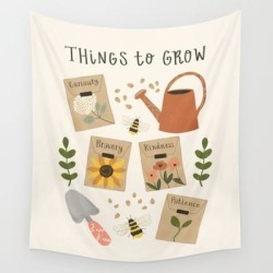 "Wall Hanging Tapestry | Things To Grow - Garden Seeds by Oh Jess Marie - 51"" x 60"" - Society6"