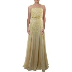 Halston Heritage Women's Chiffon Sequined Strapless A-Line Formal Dress - Camomile (10) found on MODAPINS from Overstock for USD $83.19