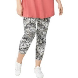 Plus Size Women's Knit Capri Leggings by ellos in Black Ivory Snake (Size 30/32) found on Bargain Bro Philippines from Ellos for $20.90