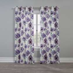 Wide Width BH Studio Canvas Printed Grommet Panel by BH Studio in Lilac Poppy (Size 48