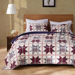Greenland Home Fashions Liberty Quilt and Pillow Sham Set by Greenland Home Fashions in Red Cream Blue (Size FULL/QUEEN)