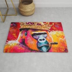 King--gorilla Modern Throw Rug by Picz--art - 2' x 3' found on Bargain Bro Philippines from Society6 for $39.20