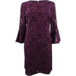 Tommy Hilfiger Women's Abstract Floral Chiffon Bell-Sleeve Dress - Aubergine Powder (18) found on Bargain Bro from Overstock for USD $53.19