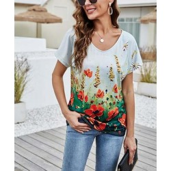 Camisa Women's Tee Shirts White - White & Green Floral V-Neck Top - Women found on Bargain Bro from zulily.com for USD $15.19