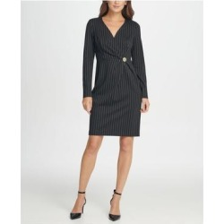 DKNY Black Long Sleeve Above The Knee Dress 14 (Black - 14), Women's(knit, check) found on Bargain Bro from Overstock for USD $23.54