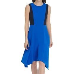 DKNY Women's Dress Blue Size 16 Sheath Colorblock Sharkbite Hem Midi (16)(polyester) found on Bargain Bro from Overstock for USD $34.18