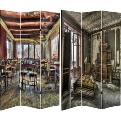 Handmade 6' Double Sided Abandoned Chambers Canvas Room Divider found on Bargain Bro Philippines from Overstock for $159.99
