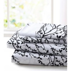 Spirit Linen Home Sheet Sets White - White & Black Foliage Sheet Set found on Bargain Bro Philippines from zulily.com for $16.99